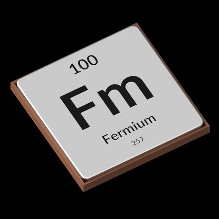 Embossed isolated metal plate displaying the chemical element Fermium, its atomic weight, periodic number, and symbol on a black background. This image is a 3d render.