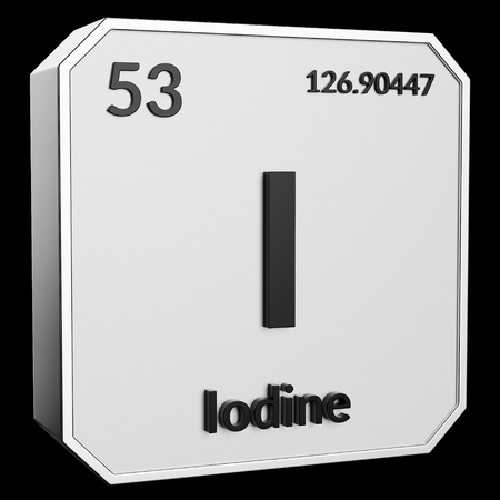 3d text of Chemical Element Iodine, its atomic weight, periodic number, and symbol on shiny metal geometry with a black background. This image is a 3d render. Stock fotó