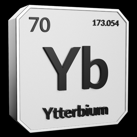 3d text of Chemical Element Ytterbium, its atomic weight, periodic number, and symbol on shiny metal geometry with a black background. This image is a 3d render.