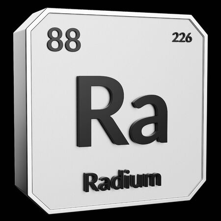 3d text of Chemical Element Radium, its atomic weight, periodic number, and symbol on shiny metal geometry with a black background. This image is a 3d render. Stock Photo