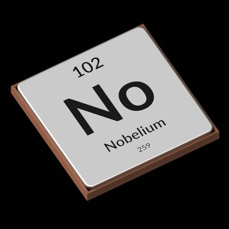 Embossed isolated metal plate displaying the chemical element Nobelium, its atomic weight, periodic number, and symbol on a black background. This image is a 3d render.