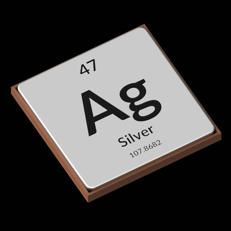 Embossed isolated metal plate displaying the chemical element Silver, its atomic weight, periodic number, and symbol on a black background. This image is a 3d render.
