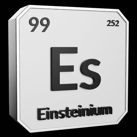 3d text of Chemical Element Einsteinium, its atomic weight, periodic number, and symbol on shiny metal geometry with a black background. This image is a 3d render. Stock fotó