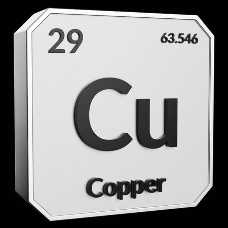 3d text of Chemical Element Copper, its atomic weight, periodic number, and symbol on shiny metal geometry with a black background. This image is a 3d render.