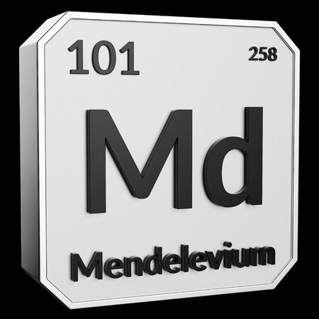 3d text of Chemical Element Mendelevium, its atomic weight, periodic number, and symbol on shiny metal geometry with a black background. This image is a 3d render.