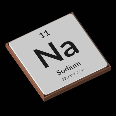 Embossed isolated metal plate displaying the chemical element Sodium, its atomic weight, periodic number, and symbol on a black background. This image is a 3d render.