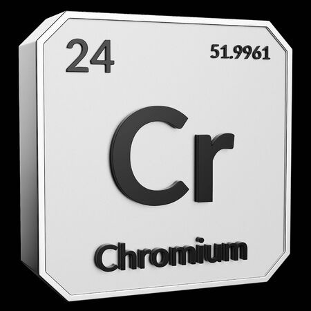 3d text of Chemical Element Chromium, its atomic weight, periodic number, and symbol on shiny metal geometry with a black background. This image is a 3d render.
