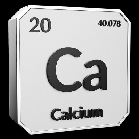3d text of Chemical Element Calcium, its atomic weight, periodic number, and symbol on shiny metal geometry with a black background. This image is a 3d render.