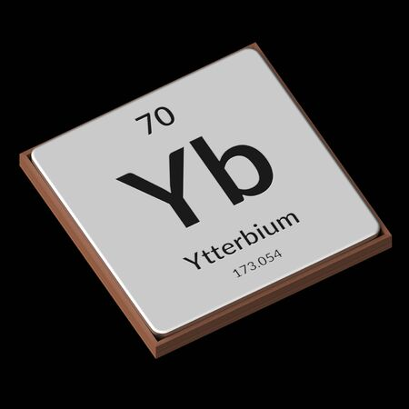 Embossed isolated metal plate displaying the chemical element Ytterbium, its atomic weight, periodic number, and symbol on a black background. This image is a 3d render.