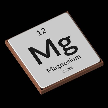 Embossed isolated metal plate displaying the chemical element Magnesium, its atomic weight, periodic number, and symbol on a black background. This image is a 3d render. Stock fotó