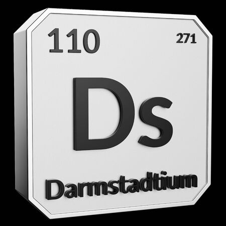 3d text of Chemical Element Darmstadtium , its atomic weight, periodic number, and symbol on shiny metal geometry with a black background. This image is a 3d render.