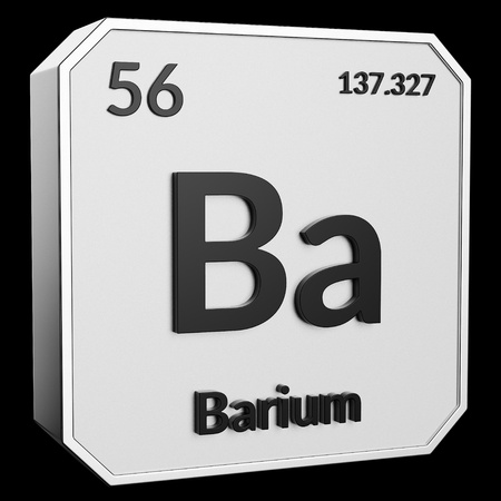 3d text of Chemical Element Barium, its atomic weight, periodic number, and symbol on shiny metal geometry with a black background. This image is a 3d render.