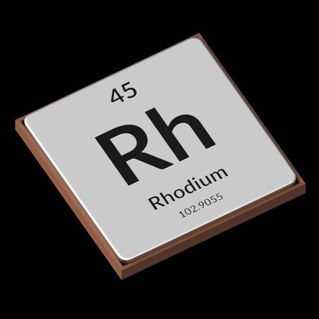 Embossed isolated metal plate displaying the chemical element Rhodium, its atomic weight, periodic number, and symbol on a black background. This image is a 3d render.