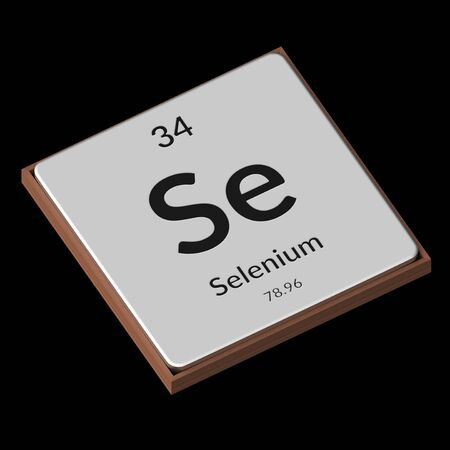 Embossed isolated metal plate displaying the chemical element Selenium, its atomic weight, periodic number, and symbol on a black background. This image is a 3d render. Stock Photo - 94274903