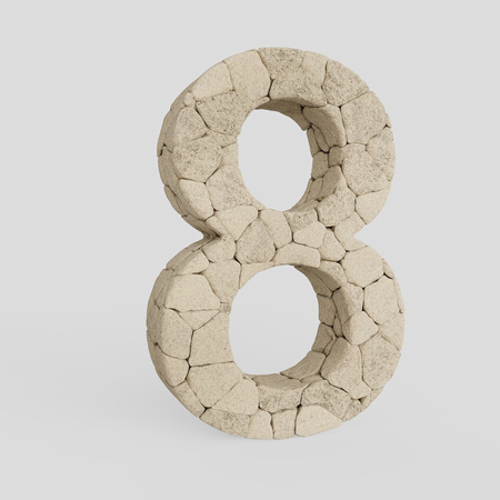 Number 8 made from lightly colored rocks and presented on an infinite white surface with very subtle soft shadows. This image is a 3d render. Stock Photo