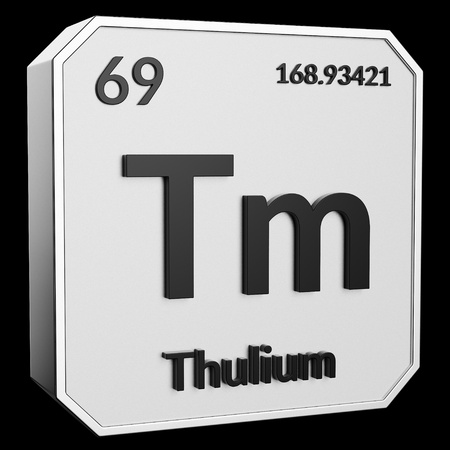 3d text of Chemical Element Thulium, its atomic weight, periodic number, and symbol on shiny metal geometry with a black background. This image is a 3d render.