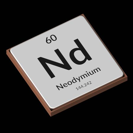 Embossed isolated metal plate displaying the chemical element Neodymium, its atomic weight, periodic number, and symbol on a black background. This image is a 3d render. Stock fotó