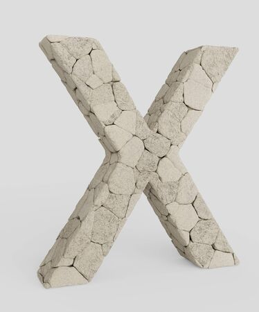 3d typography featuring in the letter letter made from variously sized, lightly colored rocks. The letter is isolated on a white background with subtle shadows. This image is a 3d render.