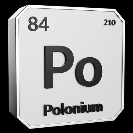 3d text of Chemical Element Polonium, its atomic weight, periodic number, and symbol on shiny metal geometry with a black background. This image is a 3d render.