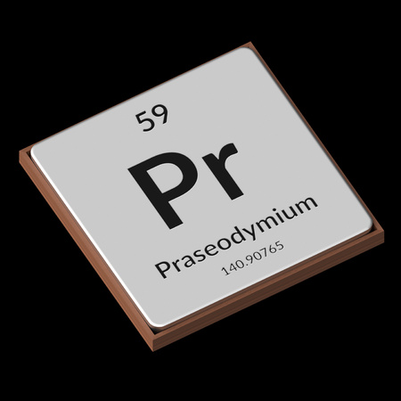 Embossed isolated metal plate displaying the chemical element Praseodymium, its atomic weight, periodic number, and symbol on a black background. This image is a 3d render. Stock fotó