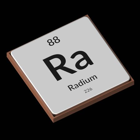Embossed isolated metal plate displaying the chemical element Radium, its atomic weight, periodic number, and symbol on a black background. This image is a 3d render. Stock Photo