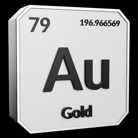 3d Text Of Chemical Element Gold Its Atomic Weight Periodic