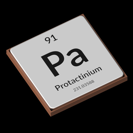 Embossed isolated metal plate displaying the chemical element Protactinium, its atomic weight, periodic number, and symbol on a black background. This image is a 3d render.