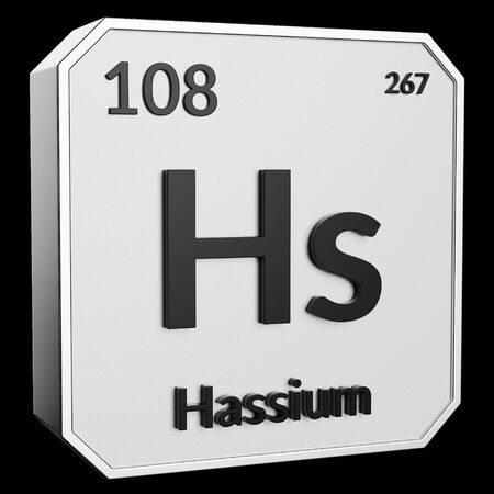 3d text of Chemical Element Hassium, its atomic weight, periodic number, and symbol on shiny metal geometry with a black background. This image is a 3d render. Stock fotó