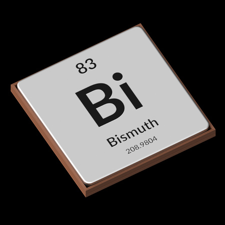 Embossed isolated metal plate displaying the chemical element Bismuth, its atomic weight, periodic number, and symbol on a black background. This image is a 3d render.