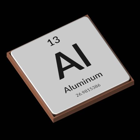 Embossed isolated metal plate displaying the chemical element Aluminum, its atomic weight, periodic number, and symbol on a black background. This image is a 3d render.