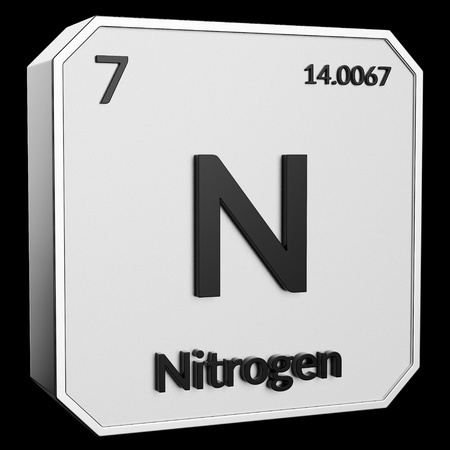 3d text of Chemical Element Nitrogen, its atomic weight, periodic number, and symbol on shiny metal geometry with a black background. This image is a 3d render. Stock fotó