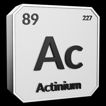 3d text of Chemical Element Actinium, its atomic weight, periodic number, and symbol on shiny metal geometry with a black background. This image is a 3d render.