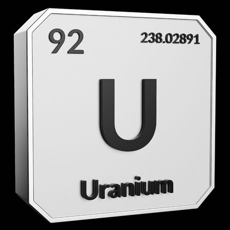 3d text of Chemical Element Uranium, its atomic weight, periodic number, and symbol on shiny metal geometry with a black background. This image is a 3d render. Stock fotó