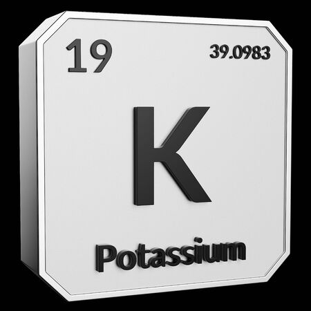 3d text of Chemical Element Potassium, its atomic weight, periodic number, and symbol on shiny metal geometry with a black background. This image is a 3d render.