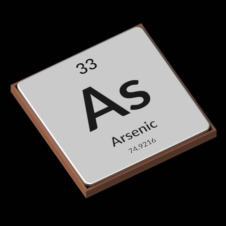 Embossed isolated metal plate displaying the chemical element Arsenic, its atomic weight, periodic number, and symbol on a black background. This image is a 3d render.