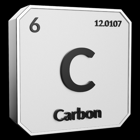 3d text of Chemical Element Carbon, its atomic weight, periodic number, and symbol on shiny metal geometry with a black background. This image is a 3d render. Stock fotó