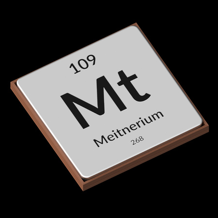 Embossed isolated metal plate displaying the chemical element Meitnerium, its atomic weight, periodic number, and symbol on a black background. This image is a 3d render. Stock fotó