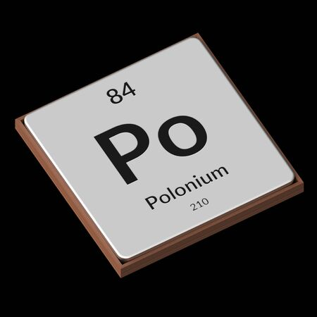 Embossed isolated metal plate displaying the chemical element Polonium, its atomic weight, periodic number, and symbol on a black background. This image is a 3d render. Stock fotó