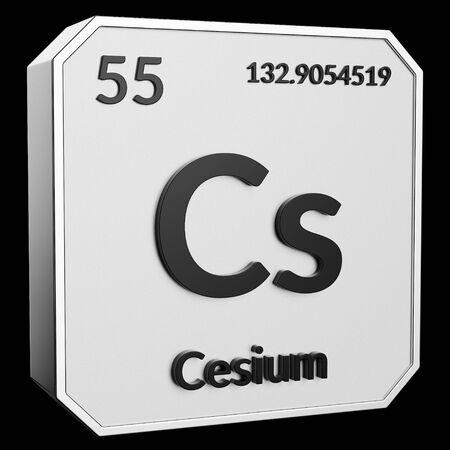 3d text of Chemical Element Cesium, its atomic weight, periodic number, and symbol on shiny metal geometry with a black background. This image is a 3d render.