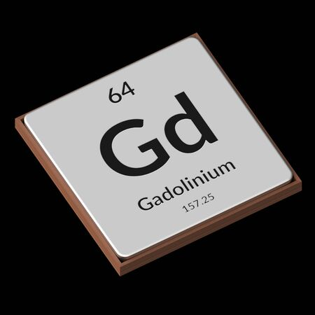 Embossed isolated metal plate displaying the chemical element Gadolinium, its atomic weight, periodic number, and symbol on a black background. This image is a 3d render.