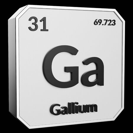 3d text of Chemical Element Gallium, its atomic weight, periodic number, and symbol on shiny metal geometry with a black background. This image is a 3d render.