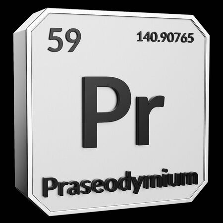 3d text of Chemical Element Praseodymium, its atomic weight, periodic number, and symbol on shiny metal geometry with a black background. This image is a 3d render.