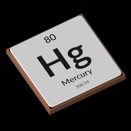 Embossed isolated metal plate displaying the chemical element Mercury, its atomic weight, periodic number, and symbol on a black background. This image is a 3d render. Stock fotó