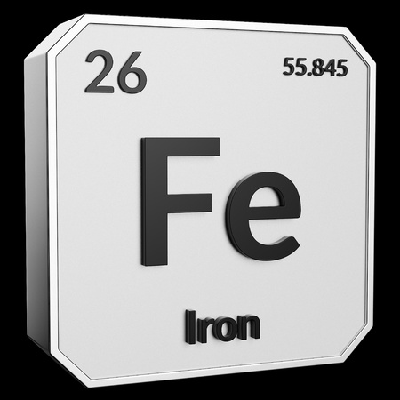 3d text of Chemical Element Iron, its atomic weight, periodic number, and symbol on shiny metal geometry with a black background. This image is a 3d render. Stock fotó