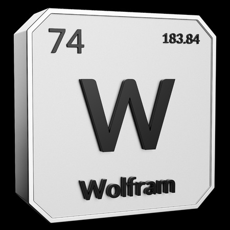 3d text of Chemical Element Wolfram, its atomic weight, periodic number, and symbol on shiny metal geometry with a black background. This image is a 3d render.