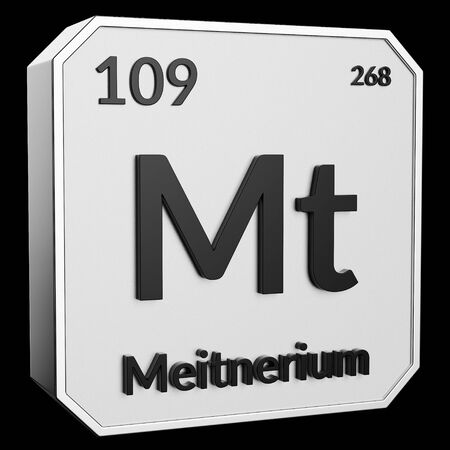3d text of Chemical Element Meitnerium, its atomic weight, periodic number, and symbol on shiny metal geometry with a black background. This image is a 3d render.