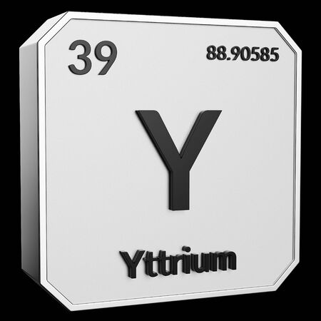 3d text of Chemical Element Yttrium, its atomic weight, periodic number, and symbol on shiny metal geometry with a black background. This image is a 3d render.