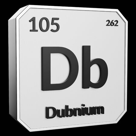3d text of Chemical Element Dubnium, its atomic weight, periodic number, and symbol on shiny metal geometry with a black background. This image is a 3d render.