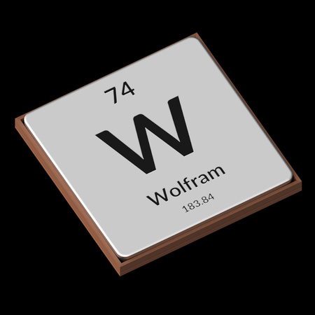 Embossed isolated metal plate displaying the chemical element Wolfram, its atomic weight, periodic number, and symbol on a black background. This image is a 3d render.