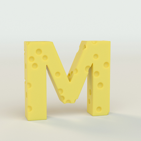 Upper case Swiss cheese letter M on a white studio seamless. This is a 3d render
